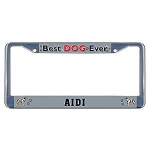 Sign Destination Metal Insert License Plate Frame AIDI Dog Best Ever Weatherproof Car Accessories Chrome 2 Holes Solid Insert Set of 2 7