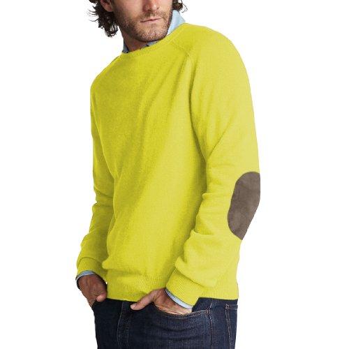 Parisbonbon Men's 100% Cashmere Elbow Pad Sweater Color T...