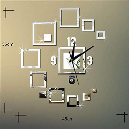WOOLIY Reloj de Pared del Espejo Creativo de Reloj Cuadrado del espejo/3D Reloj de Pared de la Sala de Estar de...
