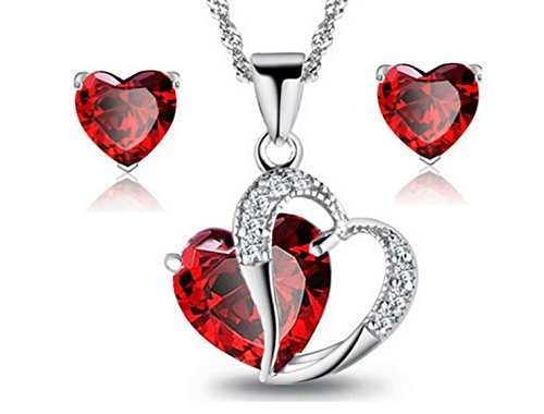 "3 Ct. Created Ruby with Rhinestones Heart Silver Jewelry Set ""Forever Love"" Crystal Earrings Pendant Necklace- Great Christmas Birthday Anniversary Mother's Day Valentines Gifts for Mom - Ma Mall Burlington"