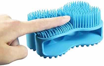 Upgraded Soft Silicone Body Brush Body,Scrubber Bath Shower Glove Exfoliating Skin SPA Massage Scrubber Cleanser, Antiskid Finger Sleeve for Baby Kids Wife Men Women Family (Blue)