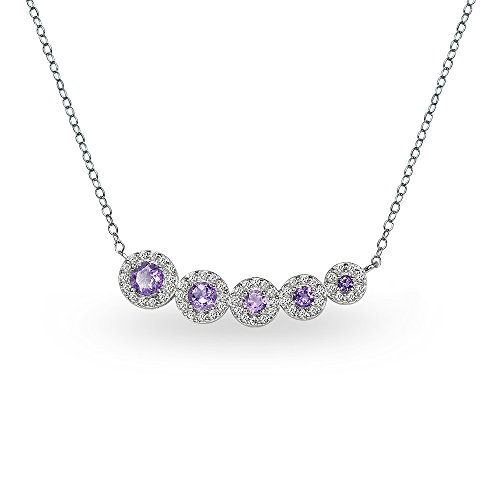 GemStar USA Sterling Silver Amethyst Graduated Journey Necklace with White Topaz Accents