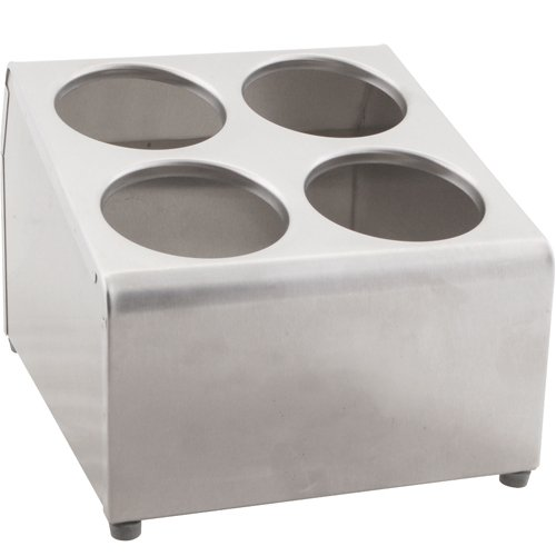 VOLLRATH Flatware Holder 4 Cylinder Holes, Stainless Steel ()