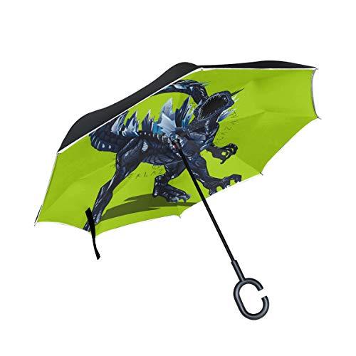 LUCASE LEMON ALEX Godzilla Dinosaur Light Green Inverted Umbrella, Large Double Layer Outdoor Rain Sun Car Travel Reversible Umbrella with C Handle for UV Protection Waterproof -