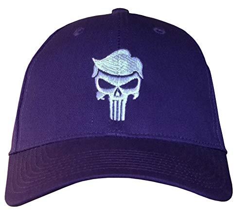 (USA-Made Purple Structured Trump Skull Cap - Trump for Justice - QAnon Q (USA-Made Structured Purple/White TrumpHair) )