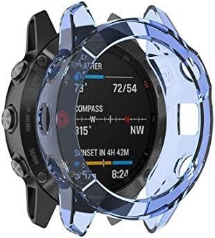多機能時計ストラップ ガーミンフェニックス6 TPUハーフカバレッジスマートウォッチProtevticeケース(ブラック)のための. (Color : Blue)