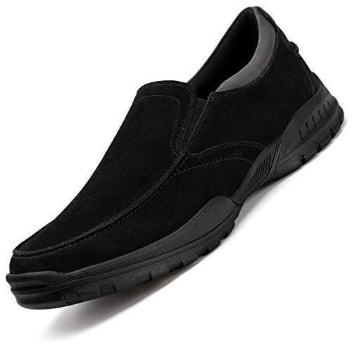 Men%27s+Slip-On+Loafers+Suede+Leather+Slip+Resistant+Walking+Shoes+Black+9.5