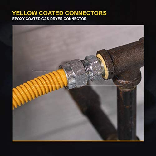 Yellow//Stainless Steel Everflow Supplies Flextron FTGC-YC38-12 10 Flexible Epoxy Coated Gas Line Connector with 1//2 Outer Diameter and Nut Fittings