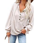 Kisscynest Women's Long Sleeve Hooded Knit Henley Top Lightweight Button Deep V Neck Tunic Shirt
