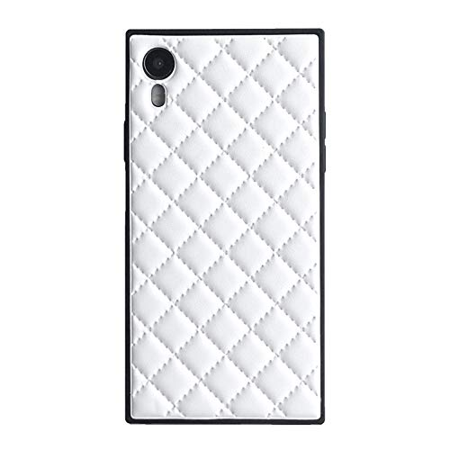 Square Grid Leather Case for iPhone XR Luxury Lattice Rhombic Sheepskin Vintage Chic Stylish Cover Slim Soft Flexible Shockproof Trunk Back Shell (White, iPhone XR 6.1'')