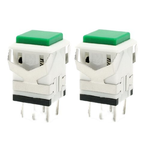 (DealMux AC 250V 3 Amp AC 125V 6 Amp Momentary SPDT Push Button Switch (2 Piece), Green)