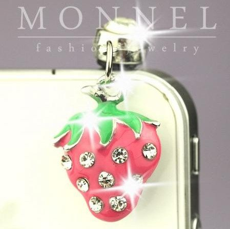 ip440 Cute Pink Strawberry Anti Dust Plug Cover Charm For iPhone Android