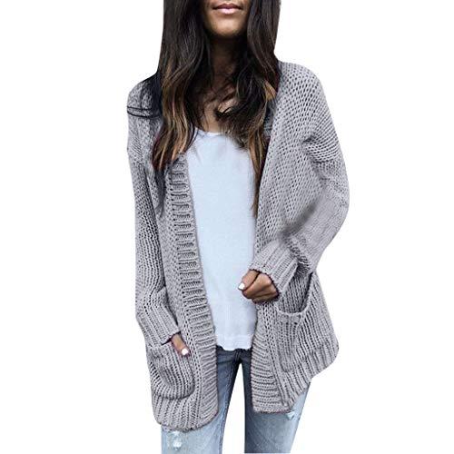 Creazrise Women's Open Front Long Sleeve Boho Boyfriend Pocket Knit Chunky Cardigan Sweater -