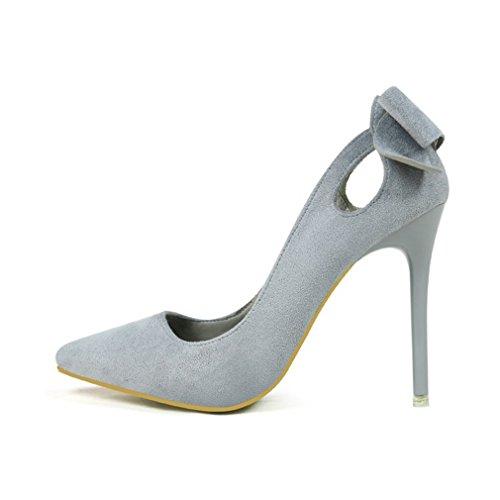 Cybling Mode Dames Stiletto Hakken Jurk Pumps Voor Huwelijkslippen Op Puntschoen Bowtie Schoenen Grijs