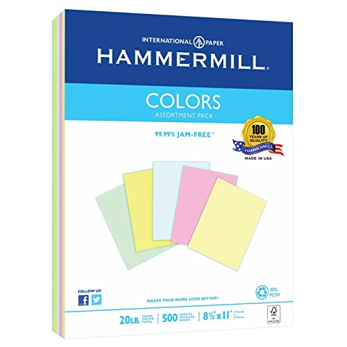 Hammermill Paper, Colors Assorted, Blue, Pink, Canary, Green, Ivory, 20lb, 8.5x11, Letter, 500 Sheets / 1 Ream, (102120R), Made In The (Pastel Color Copy Paper Letter)