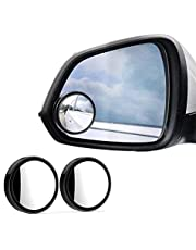 Blind Spot Mirrors,2inch 360° Rotate Blind Spot Side Mirror,Wide Angle Rear View Mirror HD Glass,Adjustable Side Mirrors for car (Black)