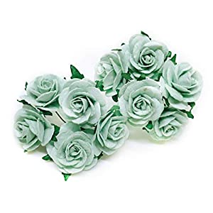 "1"" Mint Green Paper Flowers Paper Rose Artificial Flowers Fake Flowers Artificial Roses Paper Craft Flowers Paper Rose Flower Mulberry Paper Flowers, 20 Pieces 40"
