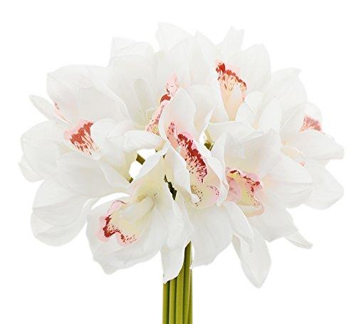 Orchid White Bouquet Cymbidium (FiveSeasonStuff 12 Stems of (White) Artificial Cymbidium/Boat Orchid Flowers & Bouquet, for Home, Shop, Wedding, Office, Party, Restaurant Décor/DIY Floral Arrangement Decorations)