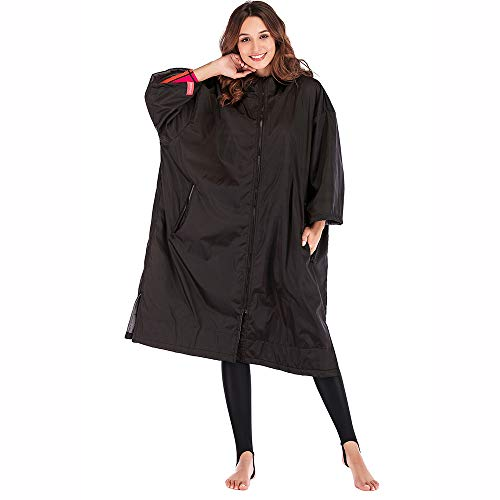 Oksun Waterproof Changing Robe Towel Poncho Dry Robe with Hood for Surfing Water Sports,One Size Fit All