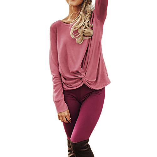 LEXUPA Women's Casual Long Sleeve Solid T Shirts Twist Knot Tunics Blouses Spring and summer tops(Pink,Medium)