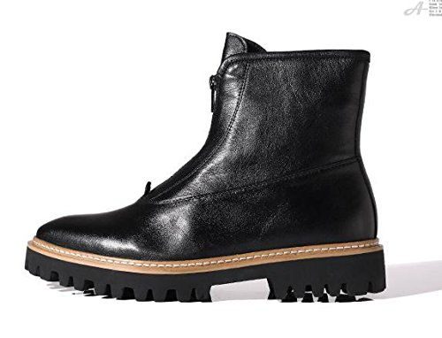 Happyshop(TM) Leather Mens Fashion Martin Boots Zipper Motorcycle Shoes Outdoor Hunting Boots Black (Black Sole) Q7XEfxHYu
