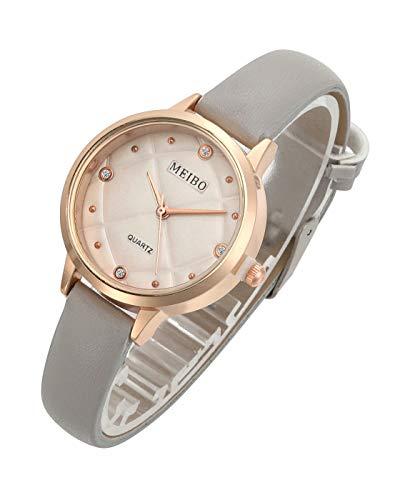 Top Plaza Womens Ladies Fashion Casual Thin Leather Strap Wrist Watch No Number Rhinestones Dress Analog Quartz Watches