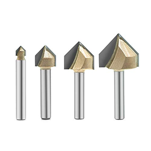 4PCS 90-Degree V Groove Router Bit, Gazeto Titanium Coated Carbide-Tipped 2-Flute CNC Engraving Bit Woodworking Chamfer Bevel Cutter, 1/4-Inch Shank