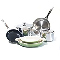 Le Creuset 8 Piece Tri-Ply Stainless Steel and Heritage Palm Cookware Set
