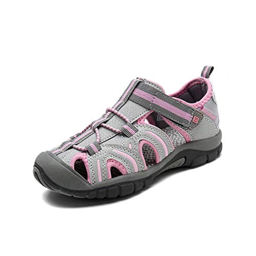 DREAM PAIRS Girls 171112-K Light Grey Pink Outdoor Summer Sandals Size 9 M US Toddler