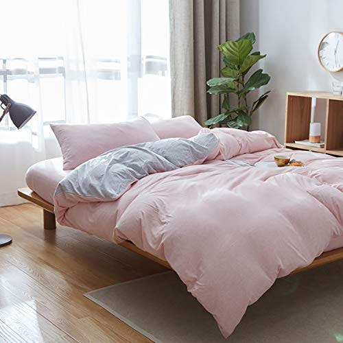 Uozzi Bedding 100% Knitted Cotton Twin Duvet Cover Set (1 Jersey Knit Cotton Duvet Cover + 2 Pillow Shams) Ultra Soft Comfy Breathable Natural Material 1200 TC with 4 Corner Ties Pink (Comforter Called What Cover Is A)