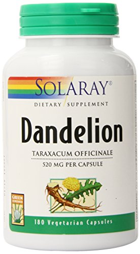 Solaray Dandelion Root 520mg | Healthy Liver, Kidney, Digestion & Water Balance Support | Whole Root | Non-GMO, Vegan & Lab Verified | 180 VegCaps For Sale