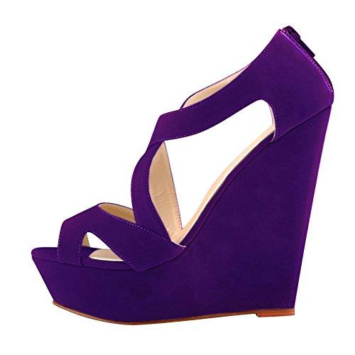 fereshte Womens Faux Velvet Gladiator Strappy Dress Platform High Wedge Sandals Purple JCLJeN