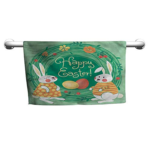 flybeek Square Towel Easter,April Flower Bunnies,Hanging Towel Rack for Bathroom