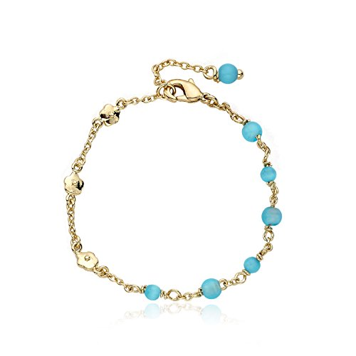 Little Miss Twin Stars Cat Eye 14k Gold-Plated Bracelet with Flowers and Light Blue Little Miss Twin Stars Cat Eye Balls,, 4.5