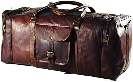 Duffel Bag Genuine Vintage Brown Leather Goat hide 24 Travel Luggage bag
