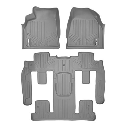 SMARTLINER Floor Mats 3 Row Liner Set Grey for Traverse/Enclave/Acadia/Outlook with 2nd Row Bucket - Mat Dark Floor Grey