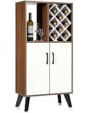 COSTWAY Barkast wijnkast, houten buffetkast, opbergkast met 8 wijnrek, open plank en 2 kasten, display wijnrek houder voor keuken, eetkamer en woonkamer