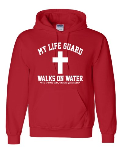 XX-Large Red Adult My Life Guard Walks On Water Christian Easter Religious Facebook Hooded Sweatshirt Hoodie
