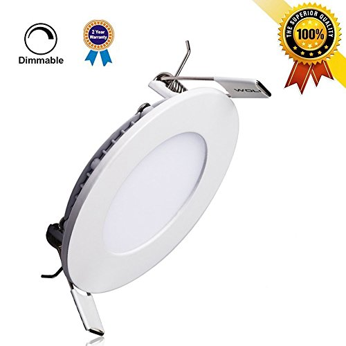 P&B Lighting 15W Dimmable Round LED Panel Flush Mount Light, Recessed Ceiling Lamp, 100W Incandescent Equivalent, 1200lm, Neutral White 4000K, Cut Hole 7.1 Inch, Downlight with 110V LED Driver