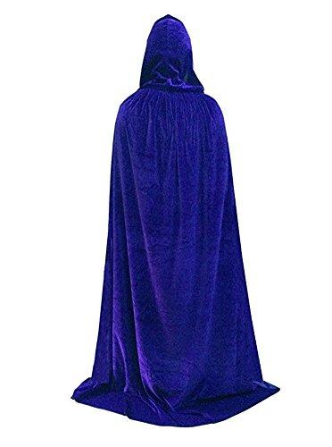 Unisex Full Length Velvet Hooded Cape Halloween Costume Cloak,Blue ()
