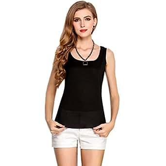 EFINNY Ladies Sleeveless Soild Vest T-shirt Tank Chiffon Beach Wear