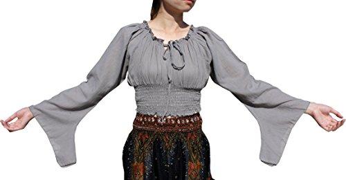 Smock Pixie (Raan Pah Muang Brand Sexy Crop Smock Top Medieval Ladies Light Cotton Pixie Shirt, Medium, Gray)