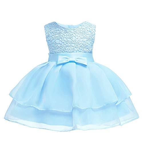 Baby Flower Girl Sleeveless Lace Special Occasion Dress Ruffles Embroidered Wedding Birthday Layered Cake Dresses All White Size 18-24 Months Tulle Tutu Ball Gown for Infant Party Light (Blue - Blue Girls Dress Ruffle