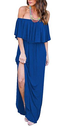 Aecibzo Été Sexy De L'épaule Des Femmes Ébouriffer Longue Robe Décontractée Maxi Avec Poche Bleu
