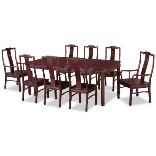 ChinaFurnitureOnline Rosewood Dining Table, 80 Inches Ming Style Key Motif Dining Set with 8 Chairs Dark Cherry Finish