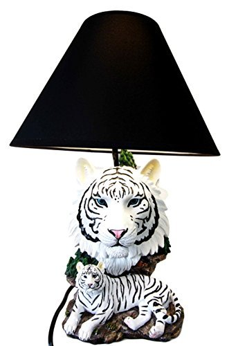 Lamp Tigers Table Resin (White Rare Alaskan Tiger Desktop Table Lamp Statue Decor With Shade)