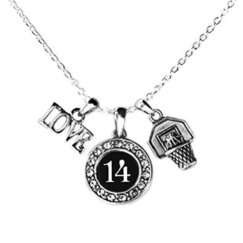Custom Player ID Basketball Necklace (#14, One Size) (Basketball Player Gifts)