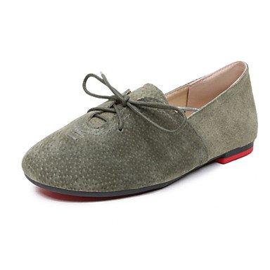 Cómodo y elegante soporte de zapatos de las mujeres pisos comodidad boda de piel sintética suela de luz de primavera verano otoño al aire libre oficina y carrera vestido casual Flat Heel lace-upblack gris