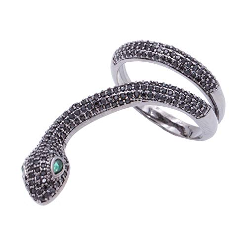 Lavencious Snake Design with AAA CZ Stones Adjustable Statement Rings Cocktail Rings for Women (Jet Black) ()