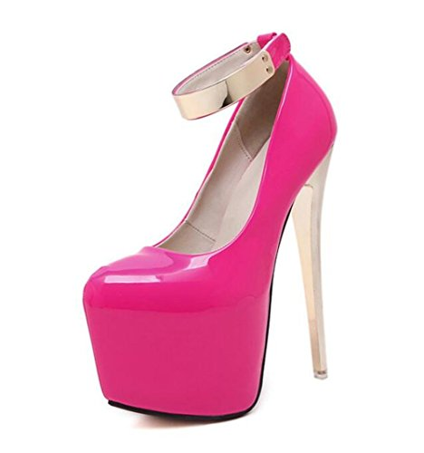 Femmes Court Chaussures Talons hauts à talons hauts 18Cm Pointe Toe Talons hauts Sexy Nightclub Femmes Singles Chaussures , rose red , 39